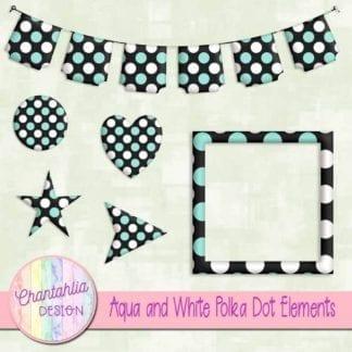 aqua and white polka dot elements