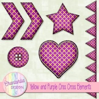 Free embellishments in a yellow and purple criss cross style.