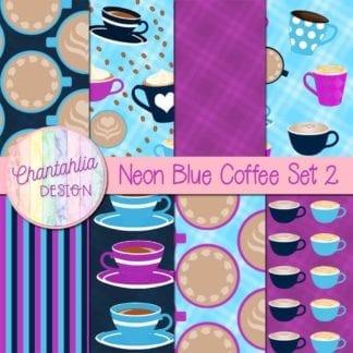 blue coffee digital papers