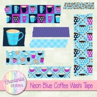 blue coffee washi tape