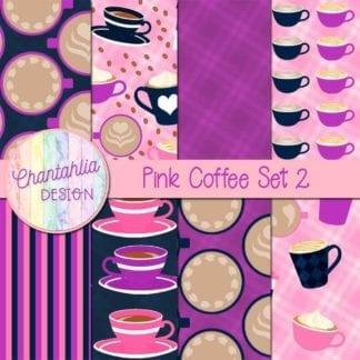 pink coffee digital papers