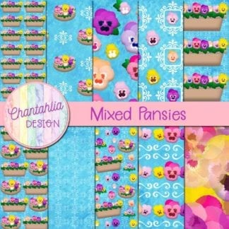 pansies digital papers