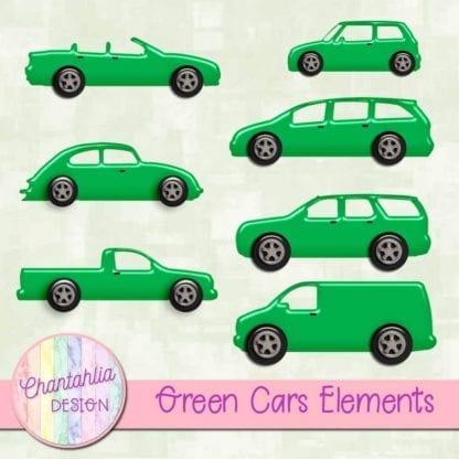 green cars scrapbooking elements