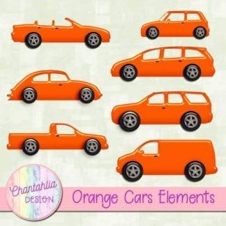 orange cars scrapbooking elements
