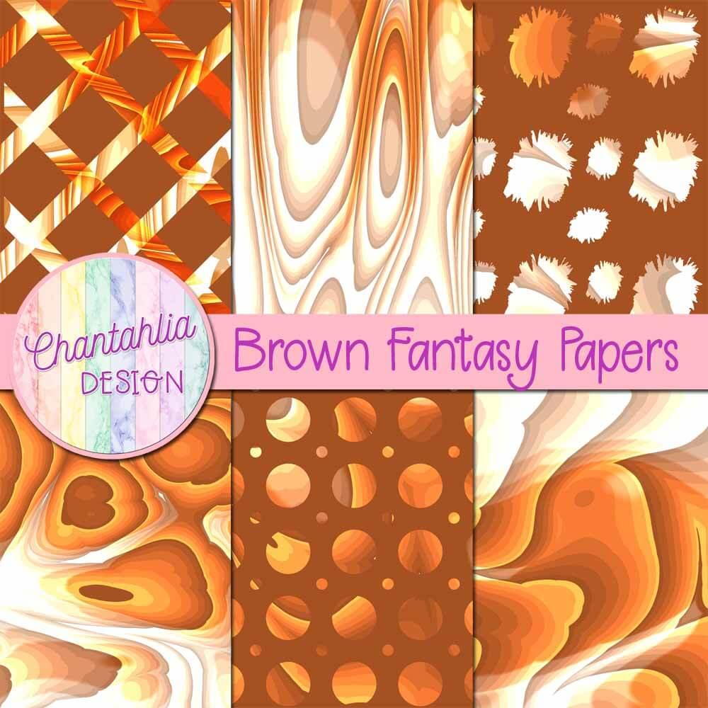 Brown Fantasy Digital Papers Chantahlia Design