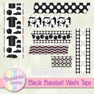 black baseball digital washi tape