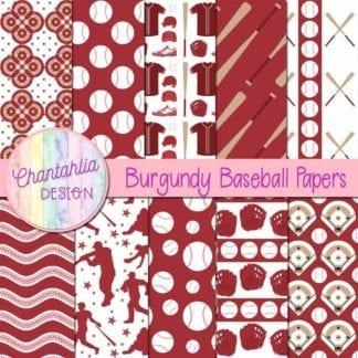 burgundy baseball digital papers