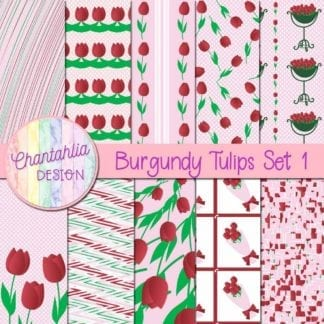burgundy tulips digital papers