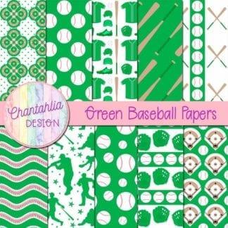 green baseball digital papers
