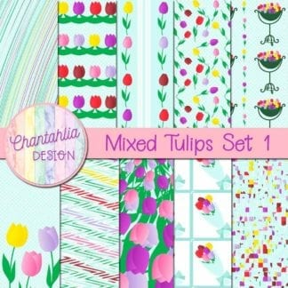 mixed tulips digital papers