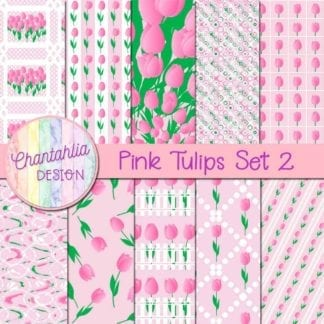 pink tulips digital papers