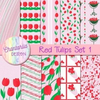 red tulips digital papers