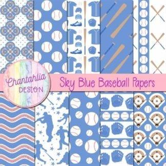 sky blue baseball digital papers