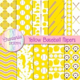 yellow baseball digital papers