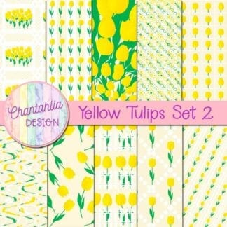 yellow tulips digital papers