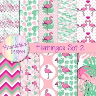 flamingos digital papers