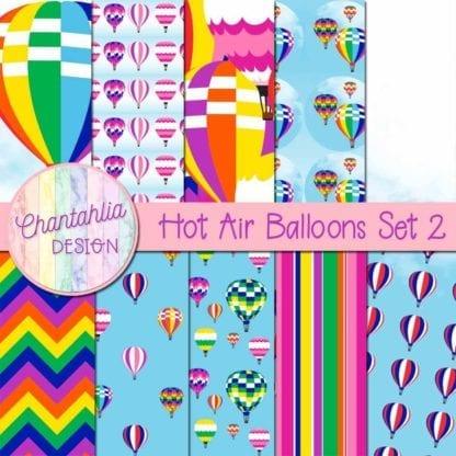 hot air balloons digital papers