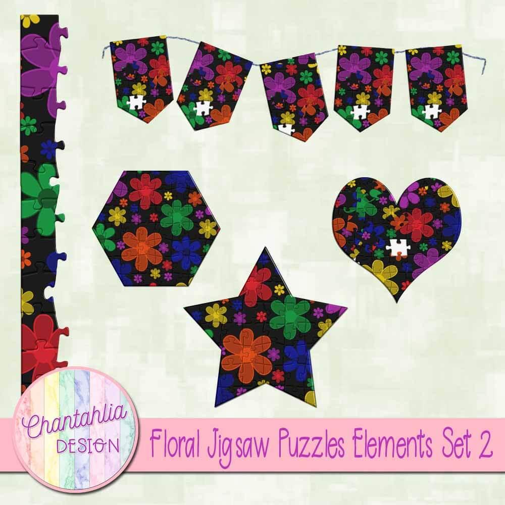 Floral Jigsaw Puzzles Elements Set 2 - Chantahlia Design