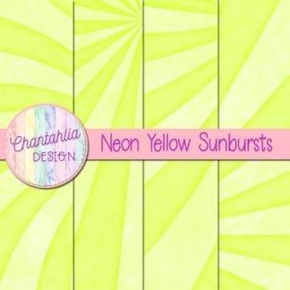 free sunburst digital papers in neon yellow