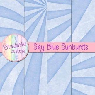 free sunburst digital papers in sky blue