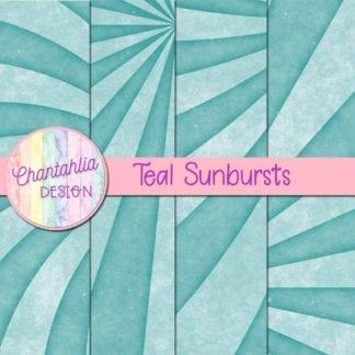 free sunburst digital papers in teal