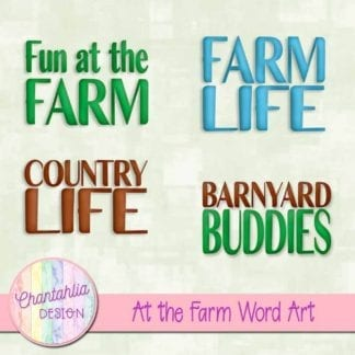 At the Farm Word Art.