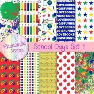 School Days digital papers