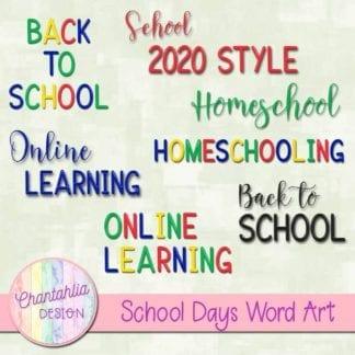 school days word art