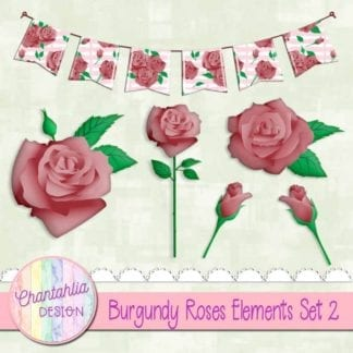 burgundy roses elements