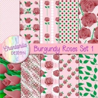 burgundy roses digital papers