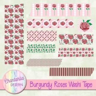 burgundy roses washi tape