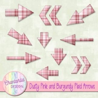 dusty pink and burgundy plaid arrow