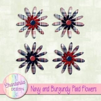 navy and burgundy plaid flowers