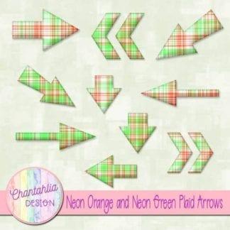 neon orange and neon green plaid arrows