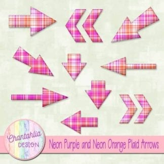 neon purple and neon orange plaid arrows