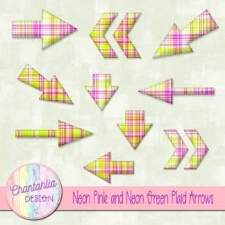 neon yellow and neon pink plaid arrows