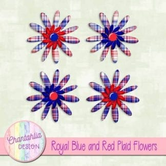 royal blue and red plaid flowers