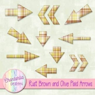 rust brown and olive plaid arrows
