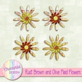rust brown and olive plaid flowers