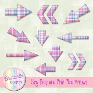 sky blue and pink plaid arrows