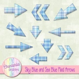 sky blue and sea blue plaid arrows