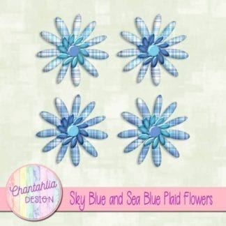 sky blue and sea blue plaid flowers