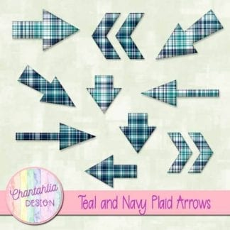 teal and navy plaid arrows
