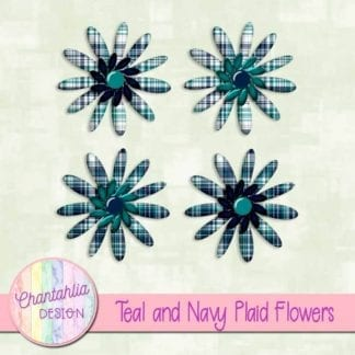 teal and navy plaid flowers