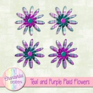 teal and purple plaid flowers