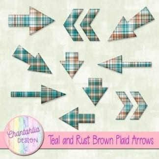 teal and rust brown plaid arrows