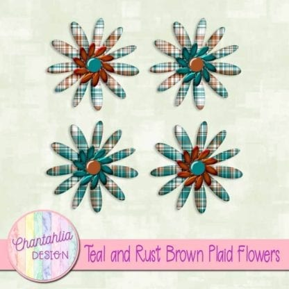 teal and rust brown plaid flowers