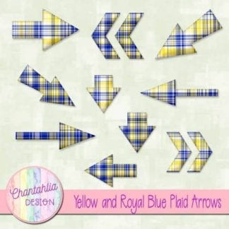 yellow and royal blue plaid arrows