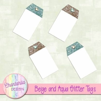 beige and aqua glitter tags