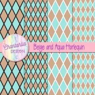 free beige and aqua harlequin digital papers